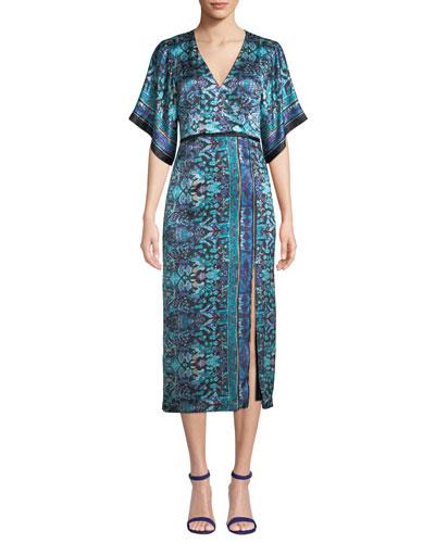 Jokers Short-Sleeve Printed Midi Dress