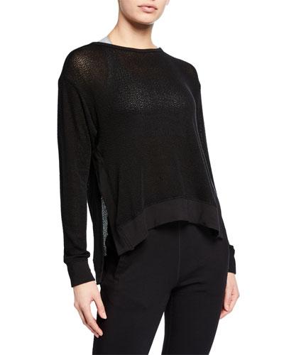 Crane Knit Side-Split Pullover Sweatshirt