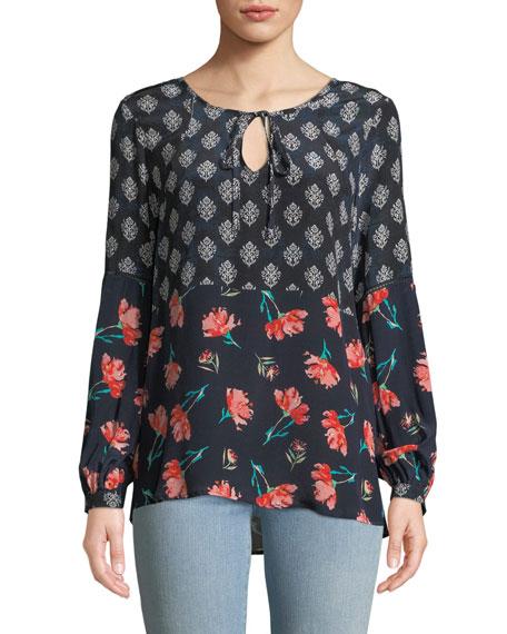 Tolani Plus Size Elise Tie-Neck Floral-Print Blouse