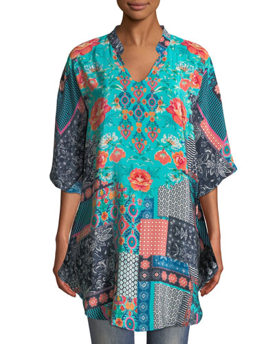 Belle V-Neck 3/4-Sleeve Mixed-Print Silk Tunic