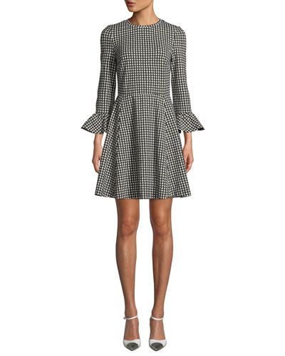 houndstooth ponte ruffle-cuff dress