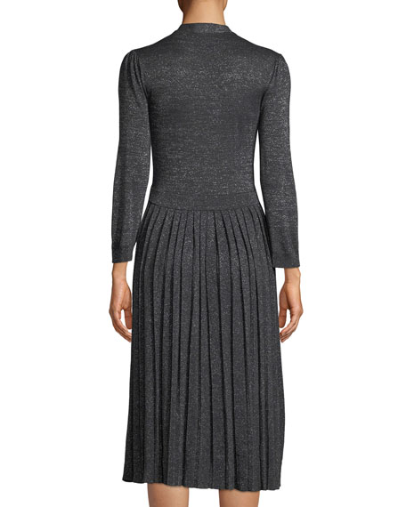 metallic pleated knit wrap dress