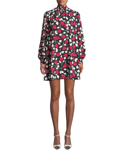 vintage fleur mock-neck long-sleeve mini crepe dress
