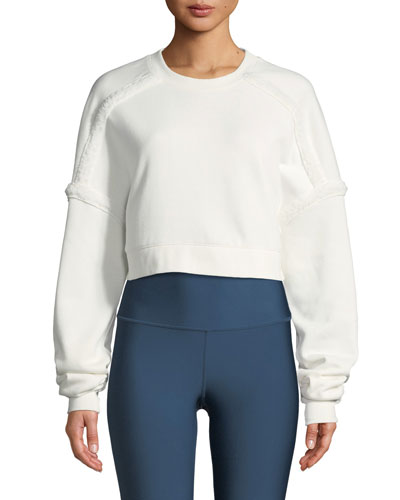 City Cropped Sweatshirt with Sherpa Trim