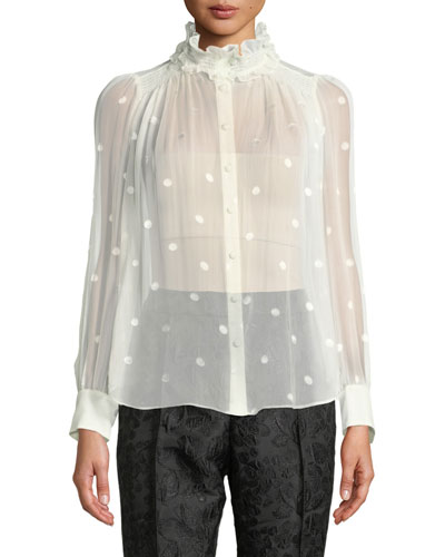 a2854ade4f71 Bakery Dot Long-Sleeve Sheer Devore Blouse w/ Ruffled Turtleneck. Add to  favorites. Add to favorites Add to Favorites. Quick Look. kate spade new  york