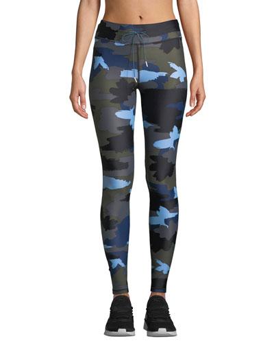Abstract Camo-Print Drawstring Yoga Pants