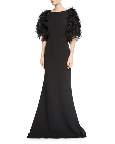 Badgley Mischka Collection High-Neck Feather Tiered Ruffle-Sleeve