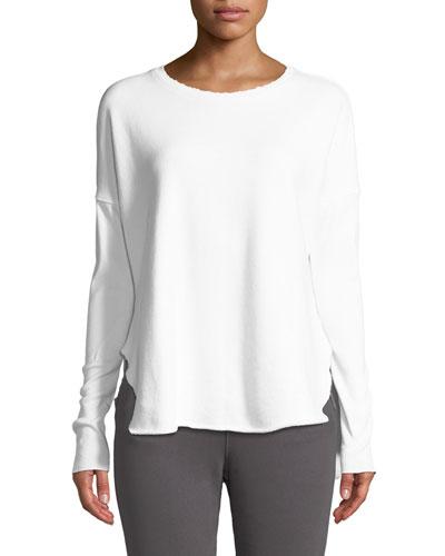 Long-Sleeve High-Low Cotton Fleece Sweatshirt