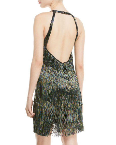 JOVANI Linings FULLY BEADED FRINGE HALTER DRESS