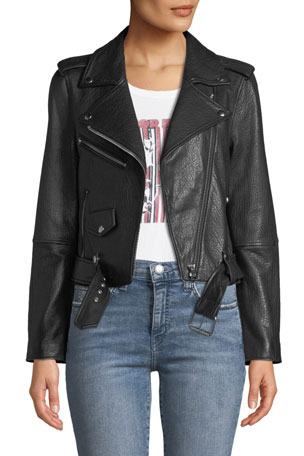Current/Elliott The Shaina Leather Biker Jacket
