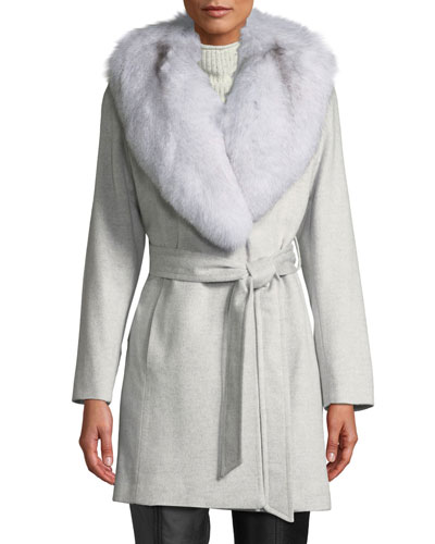 Short Wrap Coat w/ Oversized Fur Shawl