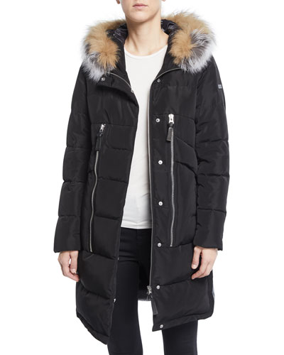 Zip-Front Quilted Parka Jacket with Fox Fur Hood