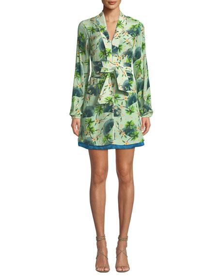 VERANDAH Palm-Print Wrap Tie Mini Dress in Green