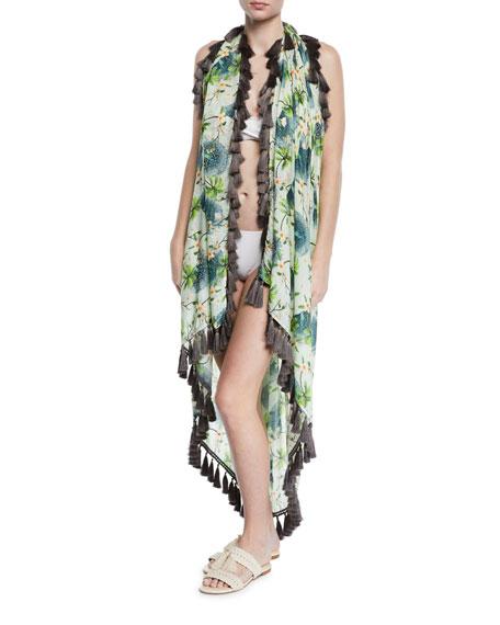 VERANDAH Clothing Beaded Coverup Pareo with Tassels