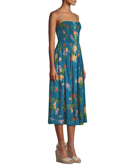 VERANDAH Midi dresses SMOCKED FLORAL-PRINT COVERUP MIDI DRESS