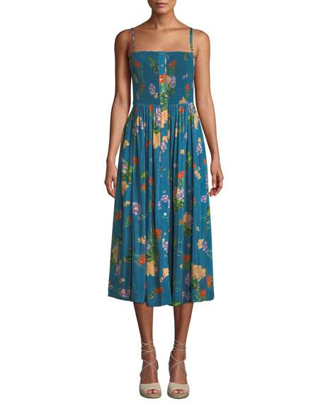VERANDAH Smocked Floral-Print Coverup Midi Dress in Blue