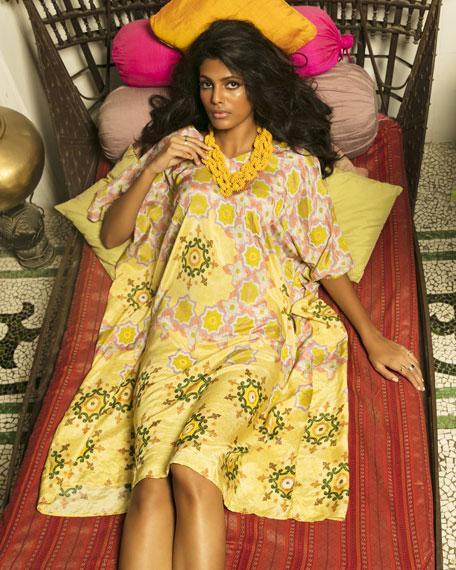 VERANDAH Dresses Hand-Beaded Printed Coverup Kaftan Dress
