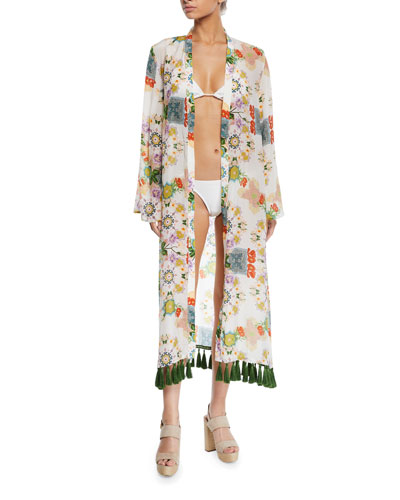 Printed Long-Sleeve Coverup Kimono with Tassels