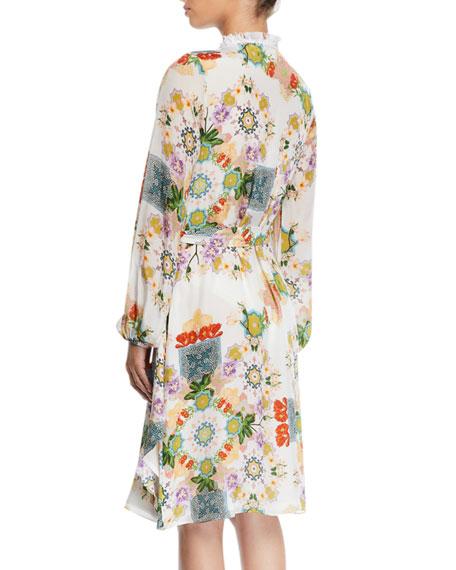 VERANDAH Dresses PRINTED BLOUSON-SLEEVE COVERUP WRAP DRESS WITH FRINGE
