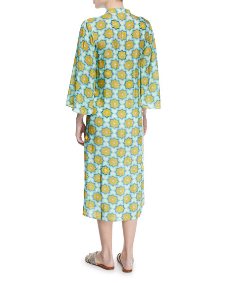 VERANDAH Tunics Hand-Beaded Printed Coverup Kimono