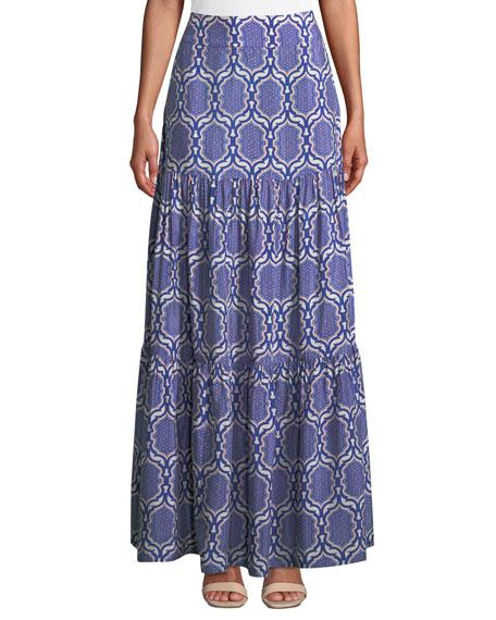 VERANDAH Printed Viscose Coverup Maxi Skirt in Blue