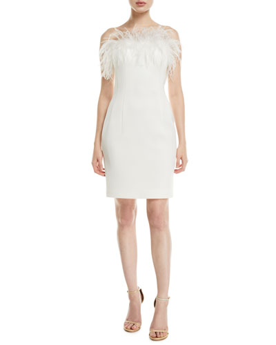 Strapless Feather-Neck Cocktail Dress