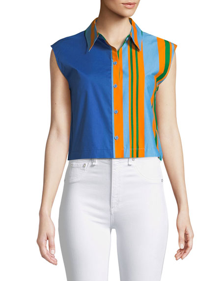 Diane Von Furstenberg Striped Poplin Cropped Beach Shirt