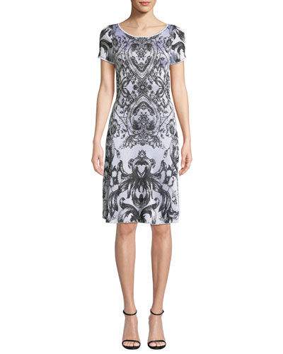 Cap-Sleeve Damask-Print Cocktail Dress