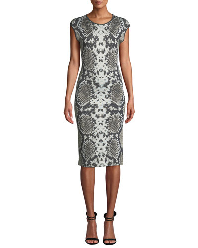 Cap-Sleeve Python-Print Cocktail Dress