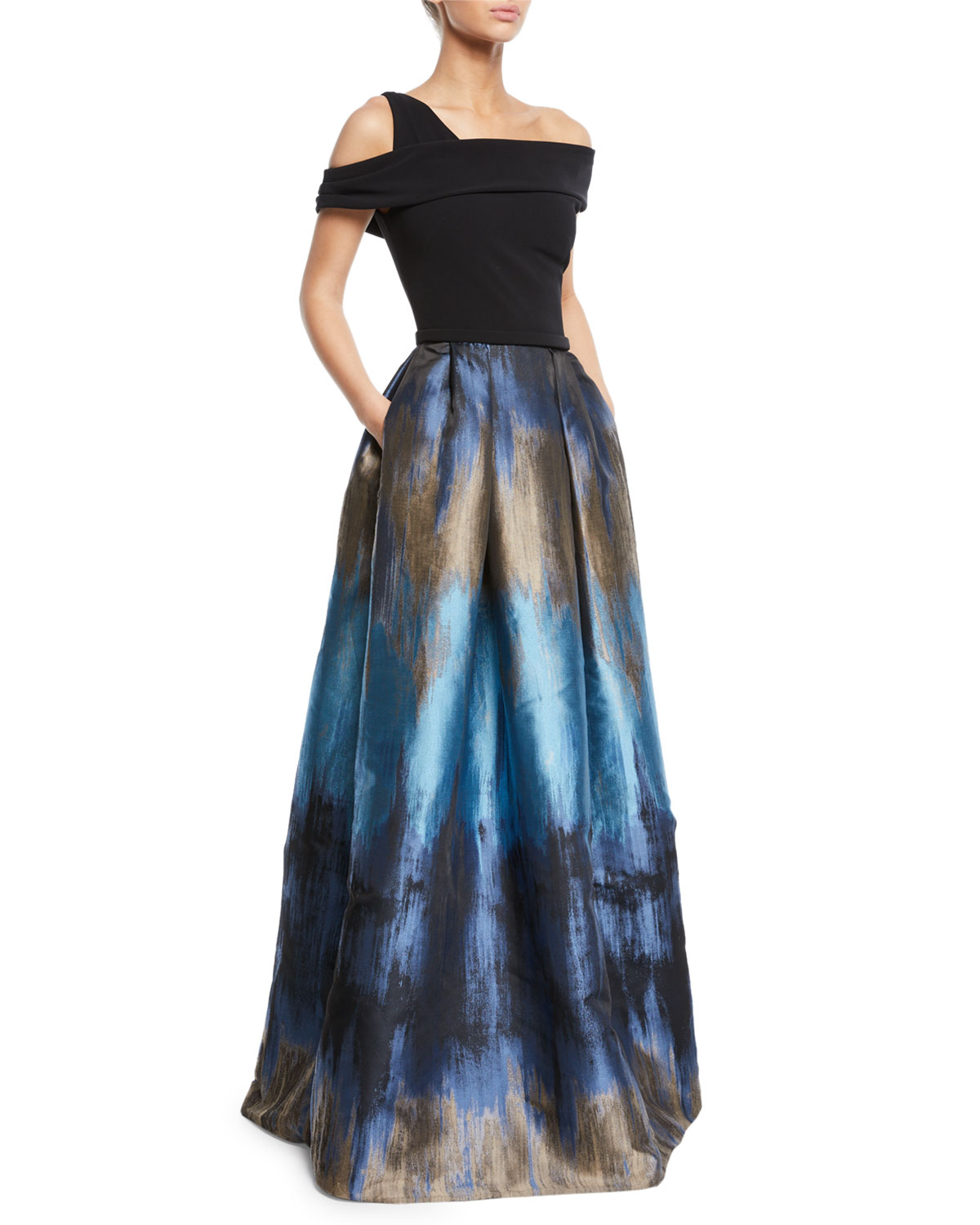 Theia Off The Shoulder Ball Gown W Ombre Mikado Skirt Pockets
