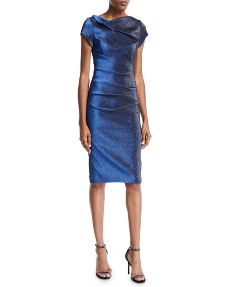 Cap-Sleeve High-Neck Stretch Metallic Dress