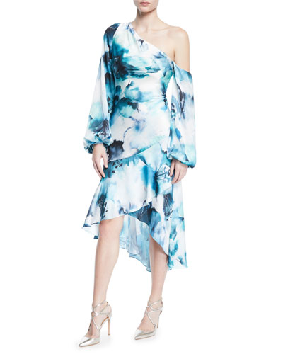 One-Shoulder Hi-Low Tie-Dye Dress w/ Blouson-Sleeves