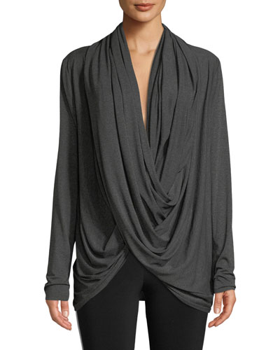 Long-Sleeve Jersey Wrap Cardigan