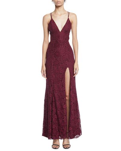 The Yan Daisy Corded Lace Slit Dress