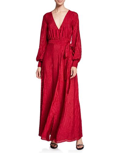 The Rachel Long Long-Sleeve Striped Self-Tie Wrap Dress