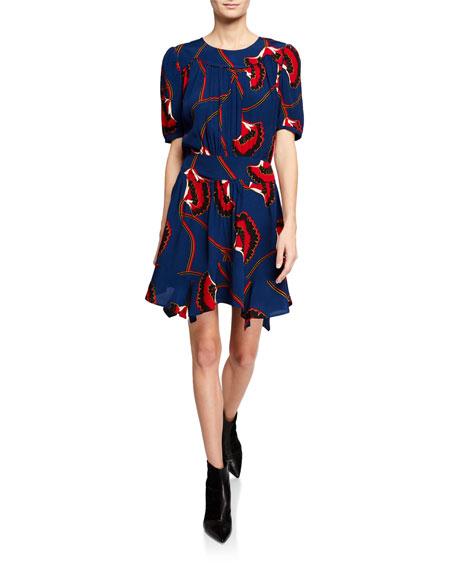 Ba&sh LEO PRINTED ASYMMETRICAL SHORT-SLEEVE DRESS