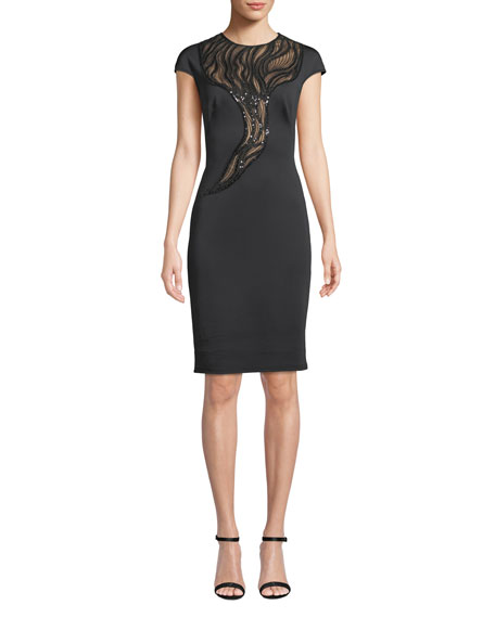 TADASHI SHOJI SHORT-SLEEVE SEQUINED CREPE SHEATH DRESS