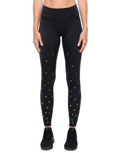 Stellar High-Rise Star-Print Performance Leggings