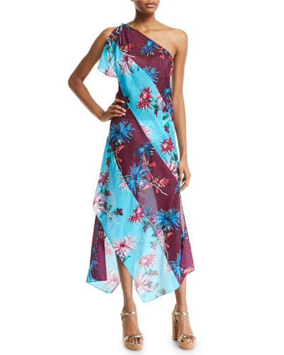 One-Shoulder Floral-Print Beach Dress