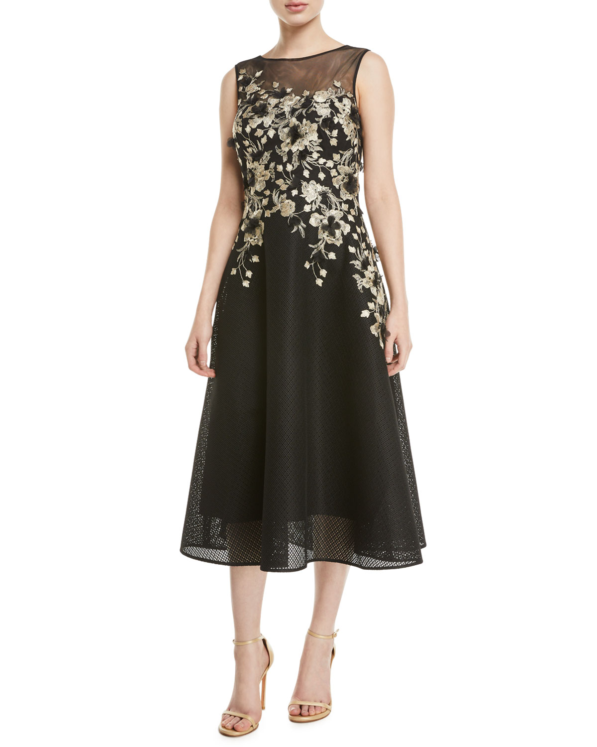 273256110ee28e Rickie Freeman for Teri Jon Sleeveless Embroidered Dance Dress ...