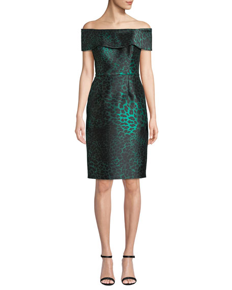 efe4e63b34d Rickie Freeman For Teri Jon Off-The-Shoulder Animal Jacquard Sheath Dress  In Emerald