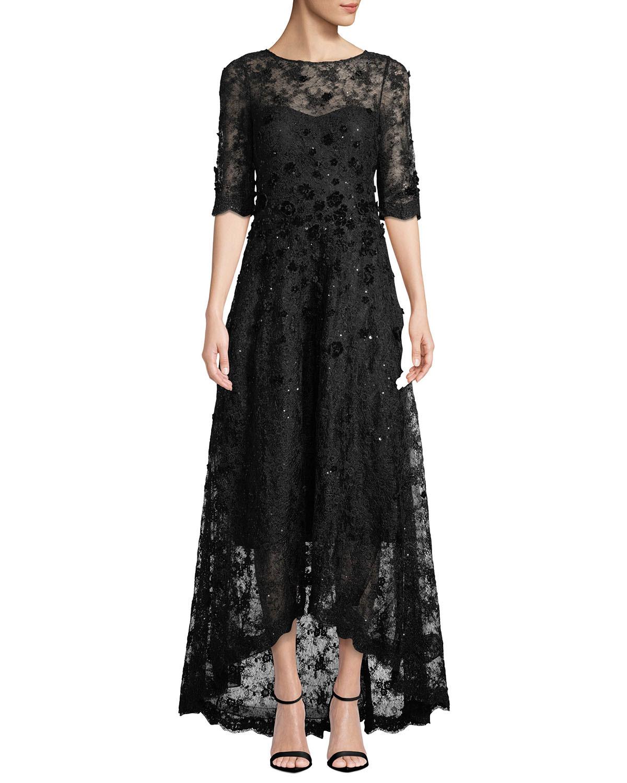 dbf7bfdb16e6f Rickie Freeman for Teri JonHalf-Sleeve 3D-Floral Lace High-Low Dress
