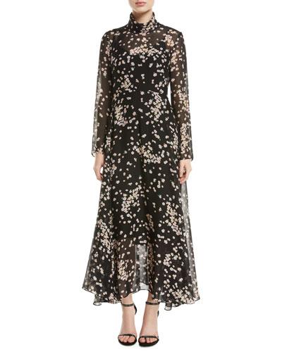 Gardin Turtleneck Long-Sleeve Floral-Print Dress