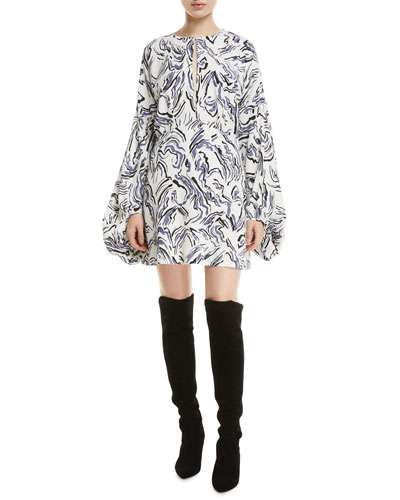 Fonda Long-Sleeve Printed Mini Dress