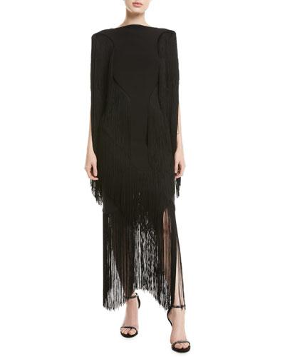 Cybill High-Neck Fringe Dress