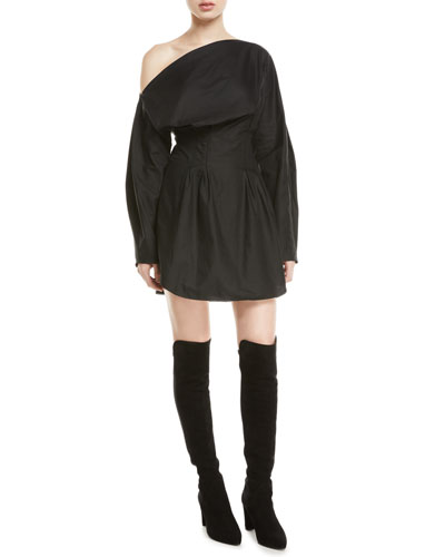 Steinem One-Shoulder Long-Sleeve Mini Dress