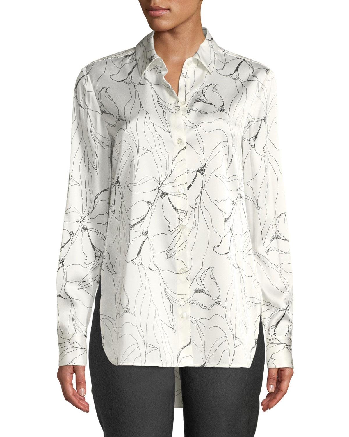 a5ffc4d7eeab7 St. John CollectionFloral-Print Button-Down High-Low Silk Charmeuse Blouse