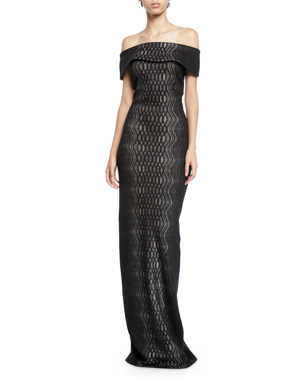 58ed7c3fd6aa St. John CollectionIllusion Off-the-Shoulder Short-Sleeve Jacquard-Knit Gown