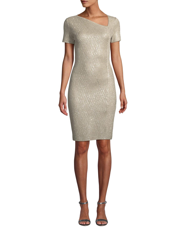 3a39e6726dfd St. John CollectionBrielle Sequin Asymmetric-Neck Short-Sleeve Dress
