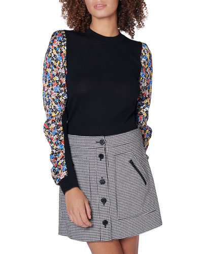 Adler Mixed-Media Wool Sweater